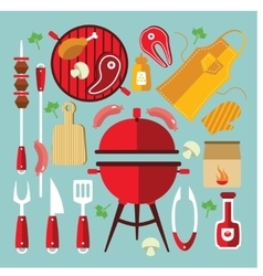 Bbq Icon Flat Set vector image