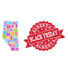 Black friday composition of mosaic map of alberta vector