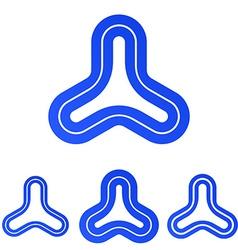 Blue line triangle logo design set vector