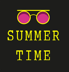 Bright summer time neon banner vector
