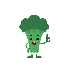 broccoli showing ok gesture and smiling - happy vector image