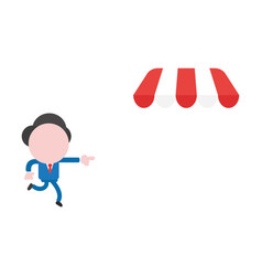 Businessman character pointing and running to vector
