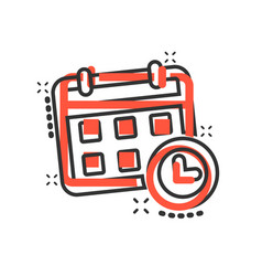 Calendar agenda icon in comic style planner vector