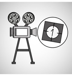 camera film vintage with movie countdown film vector image