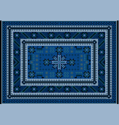 Carpet with oriental stylized ornament in blue vector