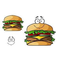 Cartoon isolated fast food cheeseburger vector image