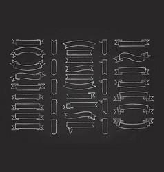 chalk stroke blank label ribbon set vector image