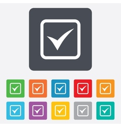 Check mark sign icon Yes square symbol vector