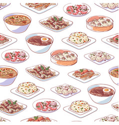 Chinese cuisine dishes on white background vector