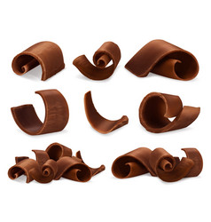 Chocolate shavings 3d realistic set objects food vector