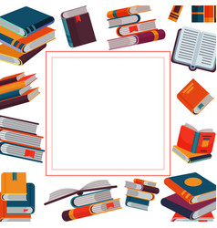 close and open books in different positions in vector image