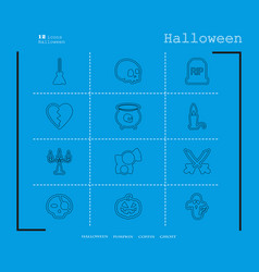 collection of 12 halloween icons in thin line vector image