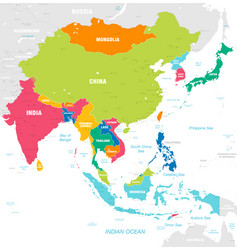 Colorful map east asia vector