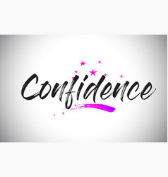 Confidence handwritten word font with vibrant vector