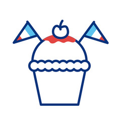 Cupcake with france flags line style vector