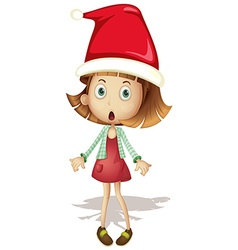 Cute girl wearing santa hat vector