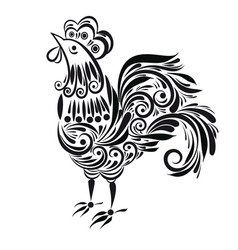 decorative silhouette rooster vector image