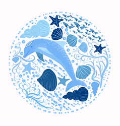 dolphin and marine elements isolated on a white vector image