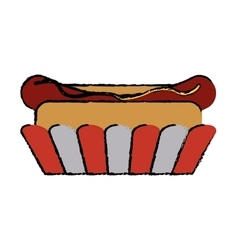 drawing hot dog fast food american football vector image