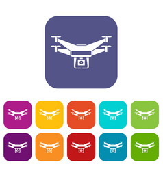 Drone video camera icons set vector