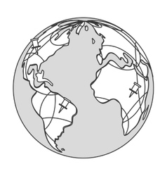 Earth globe with pins icon vector