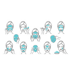 Facial mask set skin care and health infographic vector