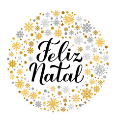 Feliz natal calligraphy hand lettering with gold vector