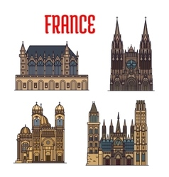 French travel landmark icon with gothic cathedrals vector image