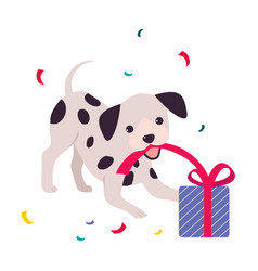 funny dog with present box adorable spotted puppy vector image