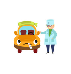 funny old doctor and sad car character having flu vector image
