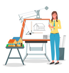 Girl architect working on project vector