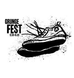grunge festival rock flyer poster template vector image