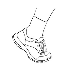 Hand drawn foot shoe in sneaker and sock vector