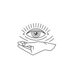 hand with all-seeing eye design element in simple vector image