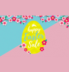 happy easter sale banner with paper cut easter vector image