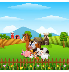 happy farm animals at hills vector image