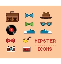 Hipster Vintage Pixel Icons vector image vector image