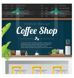 Interior scene of modern coffee shop counter bar vector