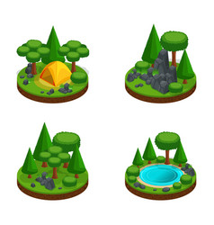 isometry set mini islands with landscapes vector image