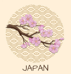 japan promo poster with sakura branch and pattern vector image