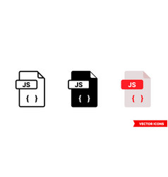Js file icon 3 types isolated sign vector