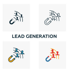 Lead generation icon set four elements in vector