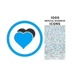 Love Hearts Rounded Icon with 1000 Bonus Icons vector