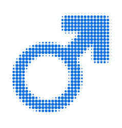 male symbol halftone dotted icon vector image