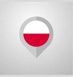 Map navigation pointer with poland flag design vector