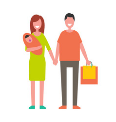married couple with newborn baby and shopping bags vector image