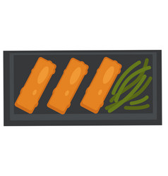 Meat rolls with asparagus served on plate vector
