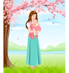 Mom holding baby in sling Young mother under vector