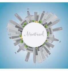 Montreal skyline with grey buildings blue sky vector