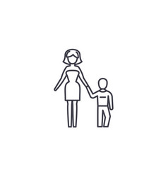 mother and son line icon sign vector image